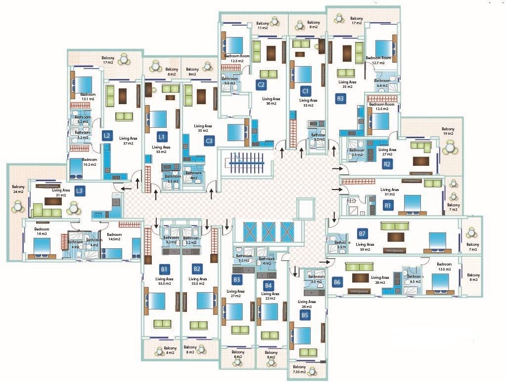 Планировка этажей дома