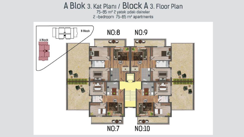 """План третьего этажа блока """"А"""""""