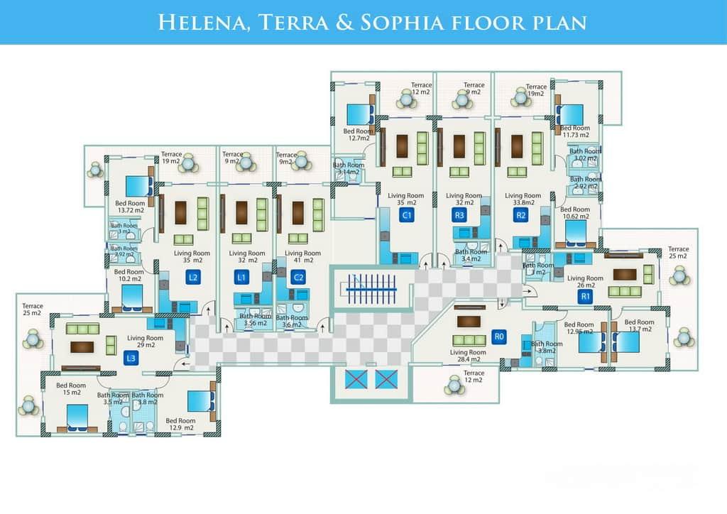 Планировка этажей в домах комплекса